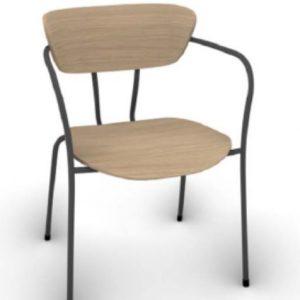 time metal frame timber chair